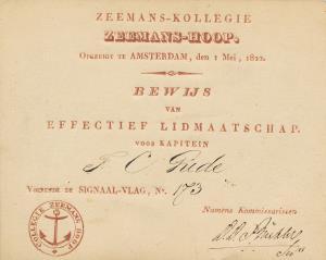 Bewijs van lidmaatschap F.C. Gude